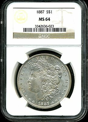 1887 $1 Morgan Silver Dollar MS64 NGC 3342636-023