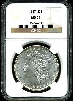 1887 $1 Morgan Silver Dollar MS64 NGC 3566567-111