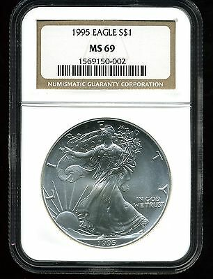 1995 $1 Silver American Eagle MS69 NGC 1569150-002