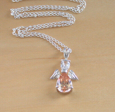 "925 Crystal Angel Pendant & 16"" Silver Chain/Sterling Silver Angel Necklace UK"