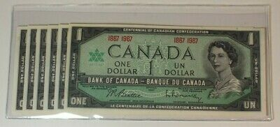 1967 Bank Of Canada 1 Dollar Note Bill AU+/Uncirculated Lot of 6 C20