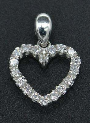 1/4 Ct Round Diamond Heart Love Pendant Without Chain 14k White Gold Over