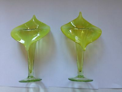 "Superb Pair of Antique Victorian ""Jack-in-Pulpit"" Opalescent Glass Vases"