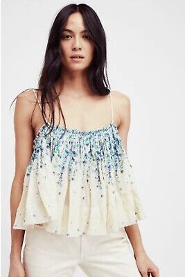 6fb2d21264700d NEW FREE PEOPLE Sz L INSTANT CRUSH PRINTED SWING FLORAL COTTON CAMI  CAMISOLE TOP