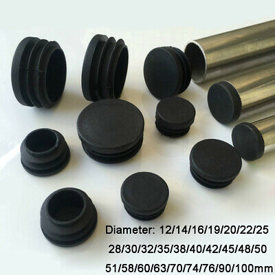 Round Plastic Black Blanking End Cap Caps Tube Pipe Inserts Plug Bung 12~100mm