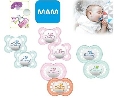 Mam Baby Soother Dummy Pacifier Teat Nipple 6m+ 12m+ 2 Pack Boy / Girl Style