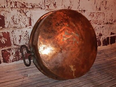 Antique Old Edwardian Victorian Arts Crafts Hammered Copper Jam Pot Wrought Iron