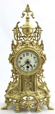 Antique Mantle Clock French Superb Working 1870s Embossed Pierced Bronze Tic-Tac