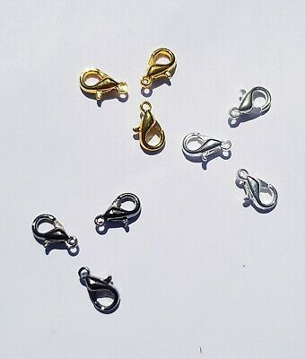 50x 10mm Lobster Clasps - Silver, Gunmetal or Gold for Jewellery Making