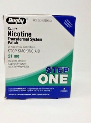 Rugby Nicotine Transdermal System 7 Clear Patches Step 1 (21mg) Exp 09/20+