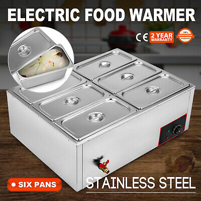 6-Pan Food Warmer Steam Table Steamer 6 Lids Stainless Steel Hot Well 220V