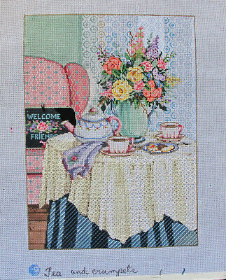 Sandra Gilmore Tea and Crumpets Needlepoint Painted Canvas and Threads