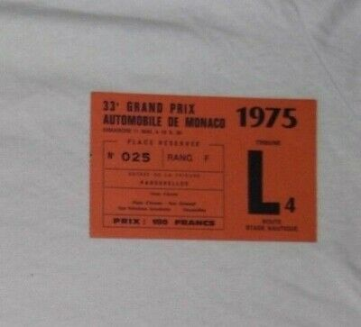 Ticket 1975 Monaco Grand Prix F1 Niki Lauda Fittipaldi Pace Donohue Hunt Billet