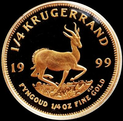 1999 Gold South Africa Proof 1/4 Oz Krugerrand Coin In Mint Capsule