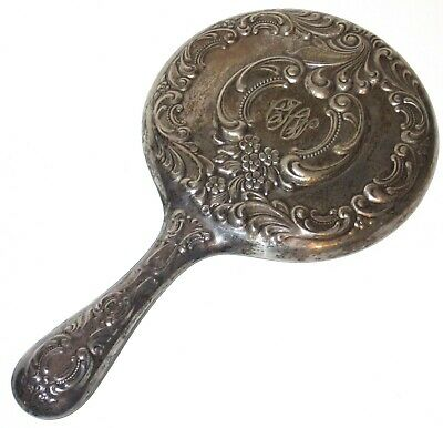 """Antique Wallace Sterling Silver Ornate Floral Monogrammed Hand Mirror 9.5"""""""