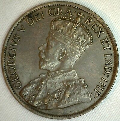 1913 Copper Canadian Large Cent Coin 1-Cent Canada XF K4