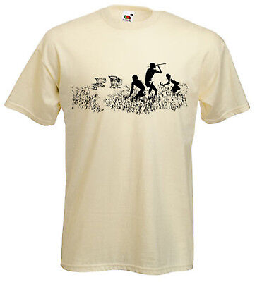BANKSY SHOPPING TROLLEY HUNTERS T-SHIRT- Hunting Cavemen - Choice Of Colours