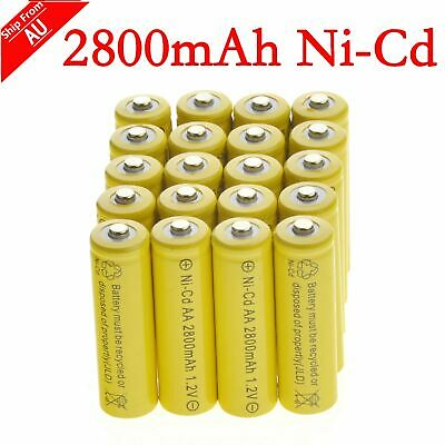 20 AA Yellow Rechargeable Batteries NiCd 2800mAh 1.2v Garden Solar Light Lamp AU