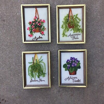 Set 4 Vintage Crewel Embroidery Flower Pictures Finished Framed 70s Decor