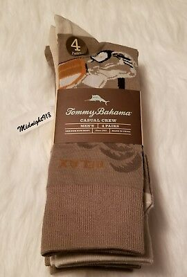 New 4 Pair Tommy Bahama Relax Casual One Size Mens Crew Sock.