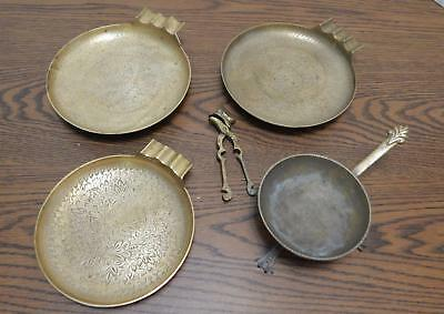 THREE Solid Brass Ashtrays, ONE Long Handle Pot on Legs & ONE Nutcracker INDIA