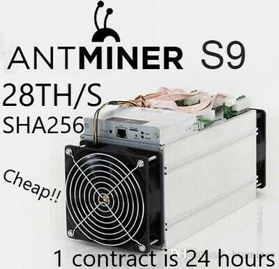 Bitcoin Mining contract 24Hr 28TH/s 28000GH - 2x Antminer s9 - SHA256 - 1 Day