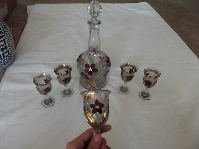 Wine decanter & 5 Cordials gold red Daisy Button w/ narcissus lily Indiana glass