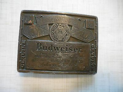 Budweiser Beer Brass Vintage Belt Buckle