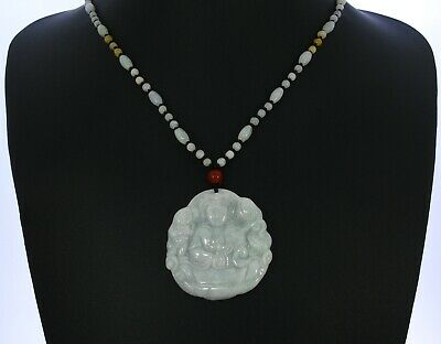 """1.9""""China Certified Grade A Nature Hisui Jadeite Jade Blessing Kwan-yin Necklace"""