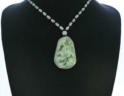 """2.1""""China Certified Grade A Nature Hisui Jadeite Jade Lucky Magpie Necklace"""