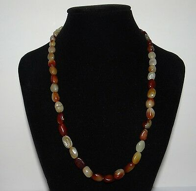 """0.6"""" China Certified Nature Nephrite Hetian Jade Red Skin Beads Necklace"""