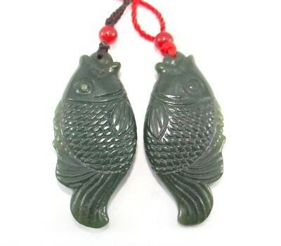 "2"" China Certified Nature Hetian Nephrite Jade Wealth Fish Pair Necklace Pendant"