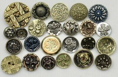 Antique Vintage Victorian Metal Picture Buttons~ Floral Designs~ Mixed Lot of 24