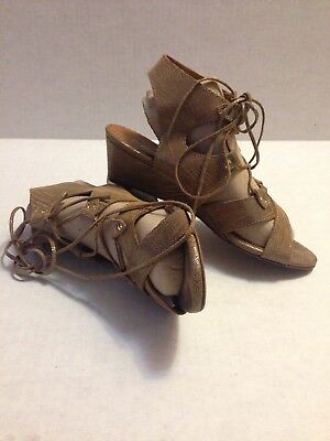 2f5f10ce57f31 MISS ALBRIGHT Anthropologie Metallic Beige Lace Up Wedge Sandals Size 8M.