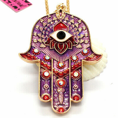 Hot  Rhinestone Magic Ancient Egypt Eyes Palm Pendant Betsey Johnson Necklace