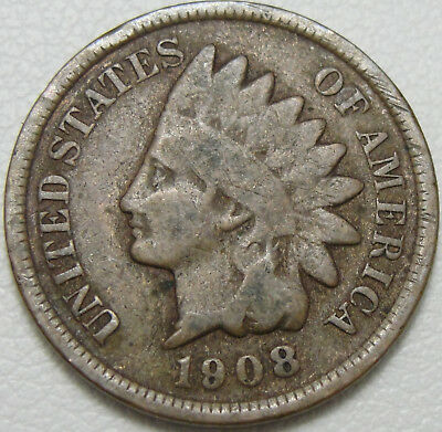 1908 1C Indian Cent, IHC, Indian Head Penny, Copper, #11251
