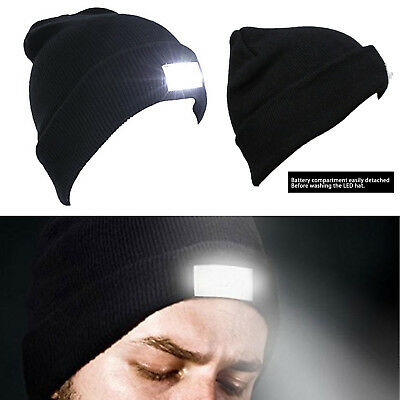 Unisex 5LED Beanie Knit Hat Rechargeable Flashlight Cap Climbing Fishing Camping