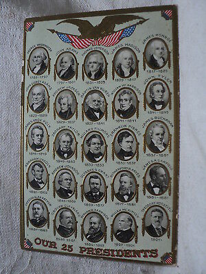 USA First 25 Presidents  Washington - Roosevelt Embossed early  Postcard