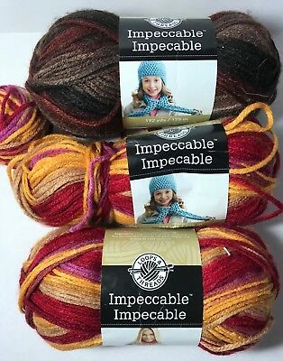 Lot of 3 Skeins Loops & Threads Impeccable Acrylic Yarn