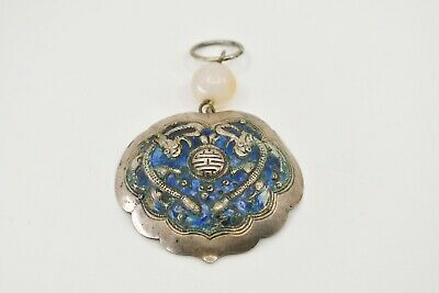 Rare Antique Chinese Old Enamel Sterling Silver Pendant with Quartz Beautiful