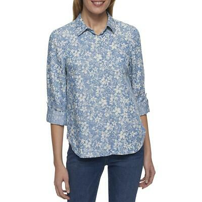 9ebc1e1c Tommy Hilfiger Womens Blue Chambray Collared Button-Down Top Shirt XXL BHFO  6519