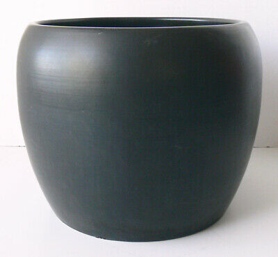 Vintage architectural GAINEY POTTERY model J-10 ceramic PLANTER matte black WOW!