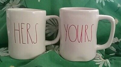 New Rae Dunn Set of 2 Mugs, LL, Ceramic, HERS - YOURS, Red Letters