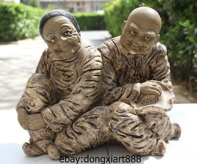 9 Chinese Porcelain & Pottery Handwork Carcing Old couple Man Women Sit Statue