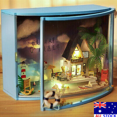 DIY LED Sea-view Dollhouse Miniature Wooden Furniture Kit Doll House Xmas Gifts