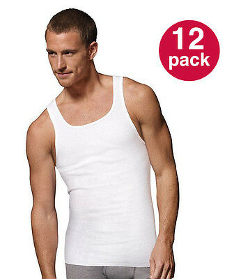 Men's Basic Solid Color 12-Pk Tank Top, 100% Cotton Tag Free Casual Undershirts