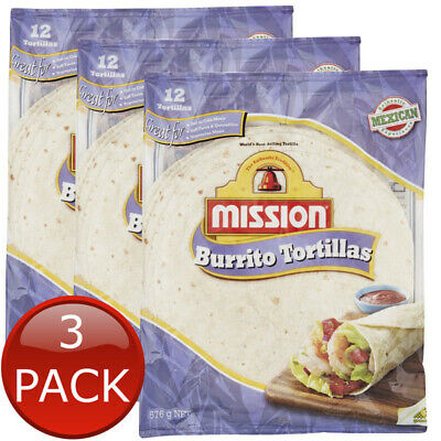 3 x MISSION BURRITO TORTILLA MEXICAN SNACKS FLOUR SOFT DELICIOUS WRAPS 12 PIECES