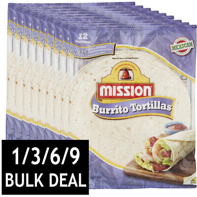Mission Burrito Tortilla Mexican Snack Flour Soft Delicious Wraps Bulk 12 Pieces