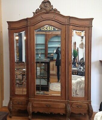 Spectacular Antique French Armoire Triple Mirrored French Oak Gorgeous details