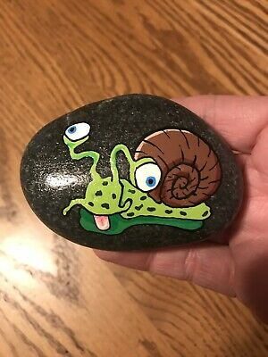 Original Hand Painted Silly Snail Rock